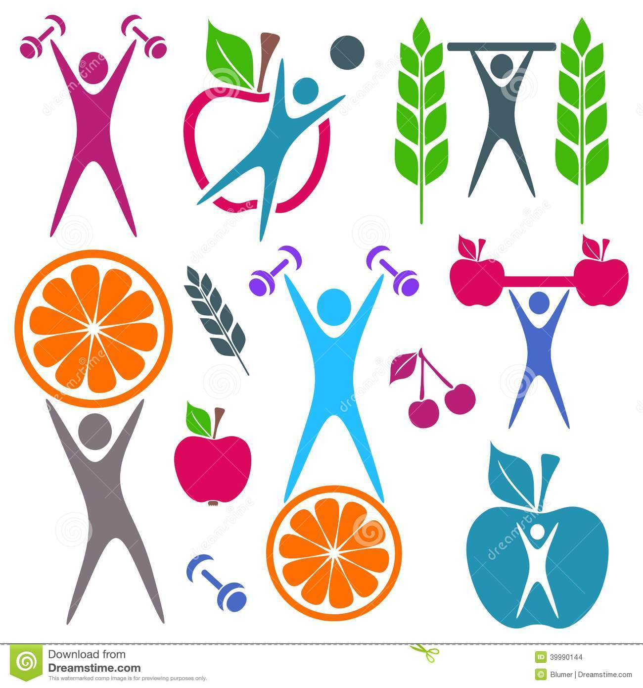 health and food icons stock vector image 39990144