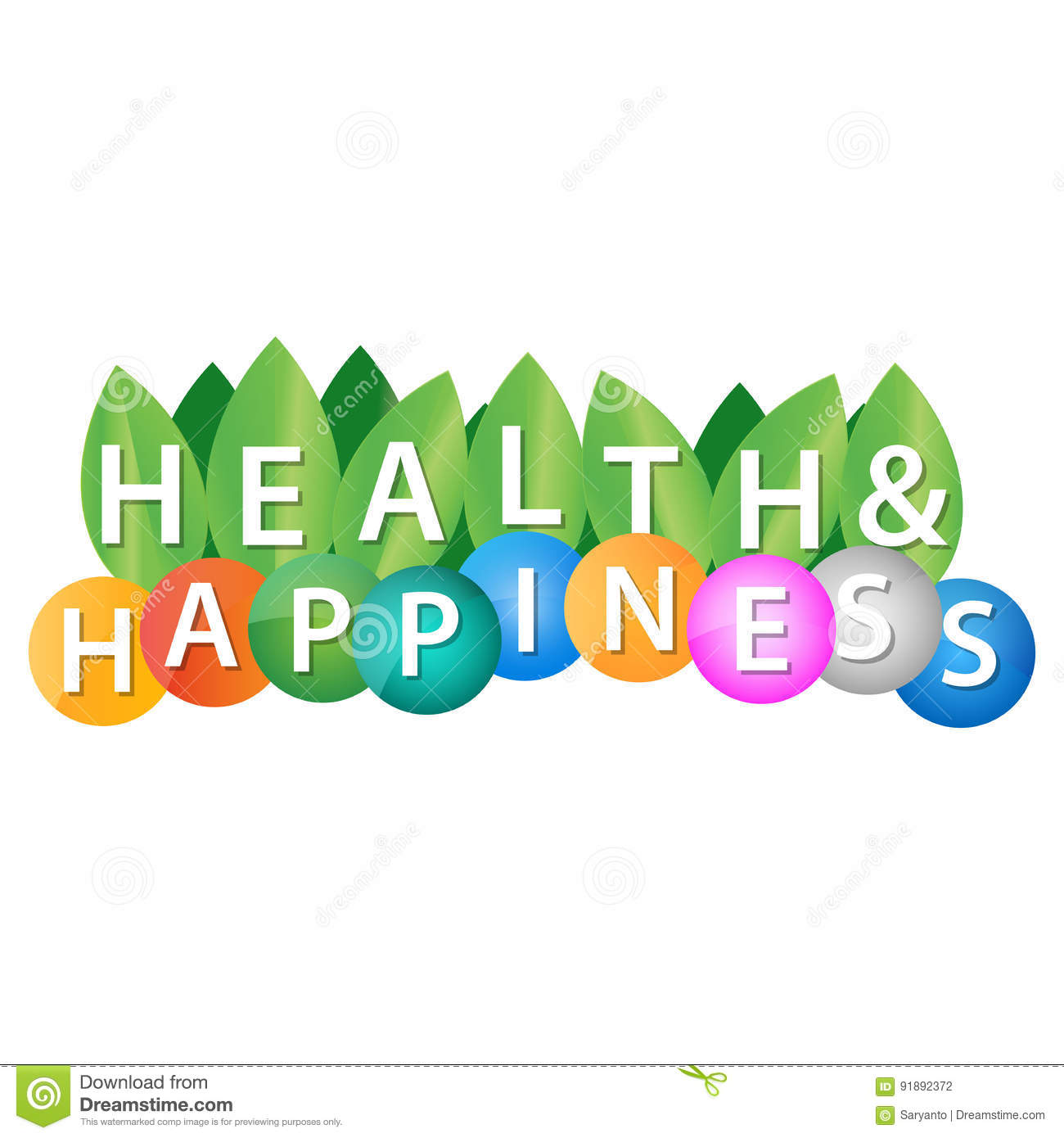 Health And Happiness Stock Vector Illustration Of Happiness 91892372