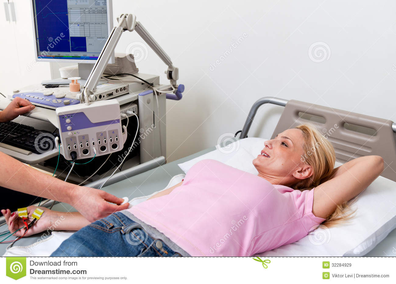 Woman In Hospital Bed Picture