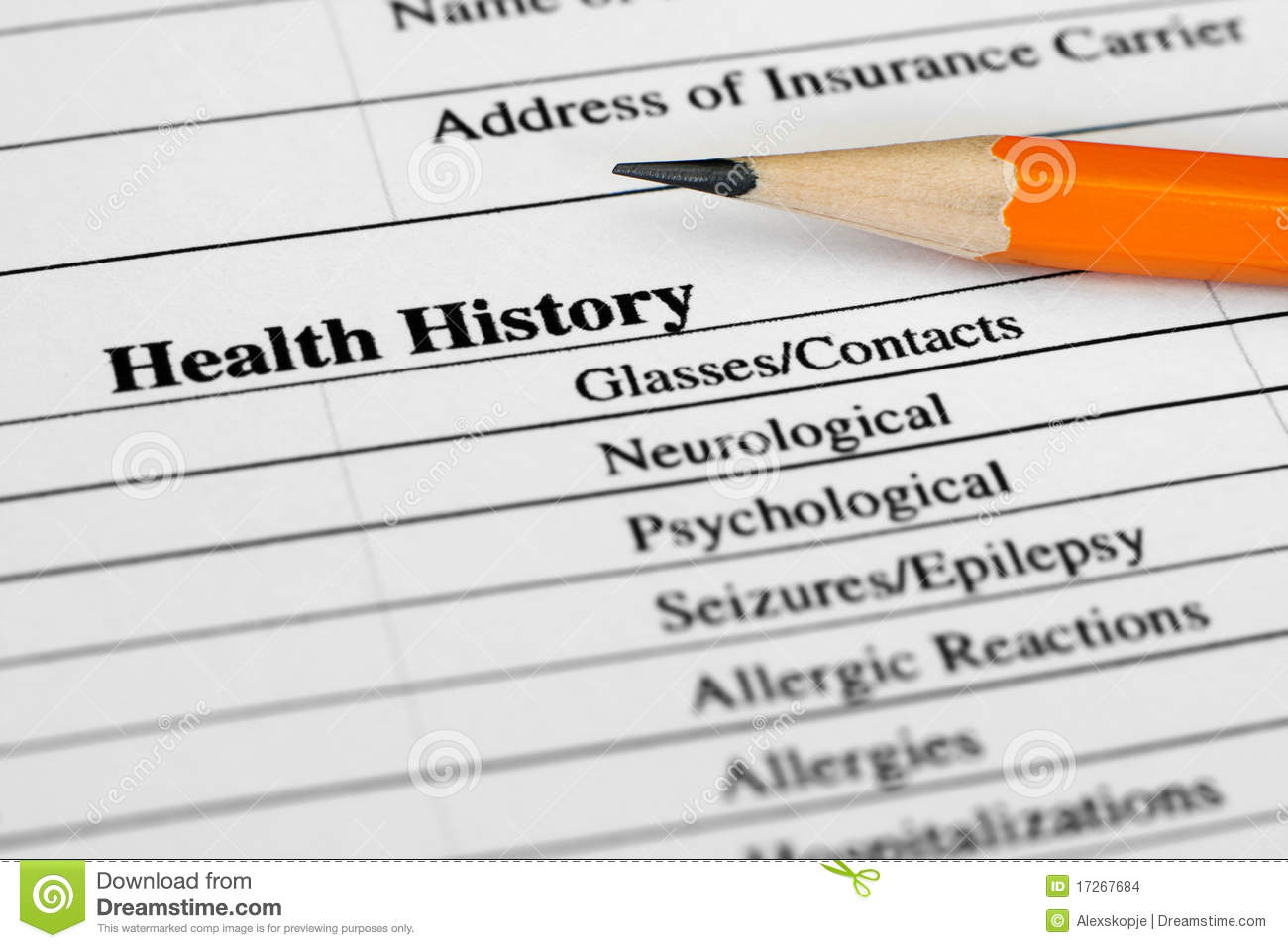 health history form stock photo image of sheet worried 17267684