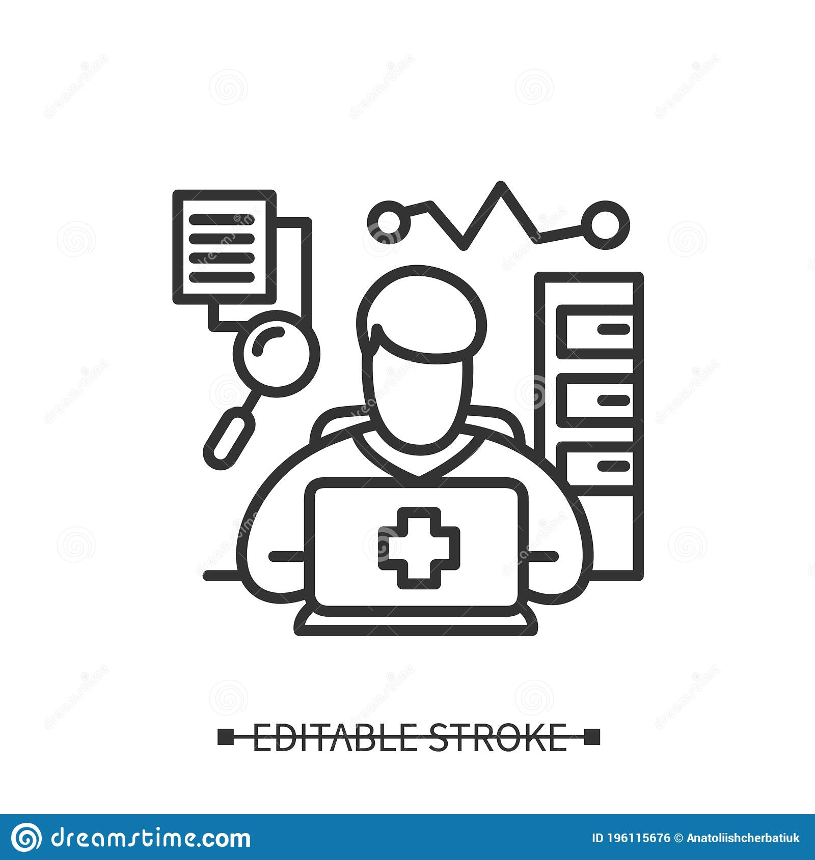 Health Information Manager Icon Clinical Documentation Specialist Editable Vector Illustration Ilustracao Do Vetor Ilustracao De Editable Manager 196115676