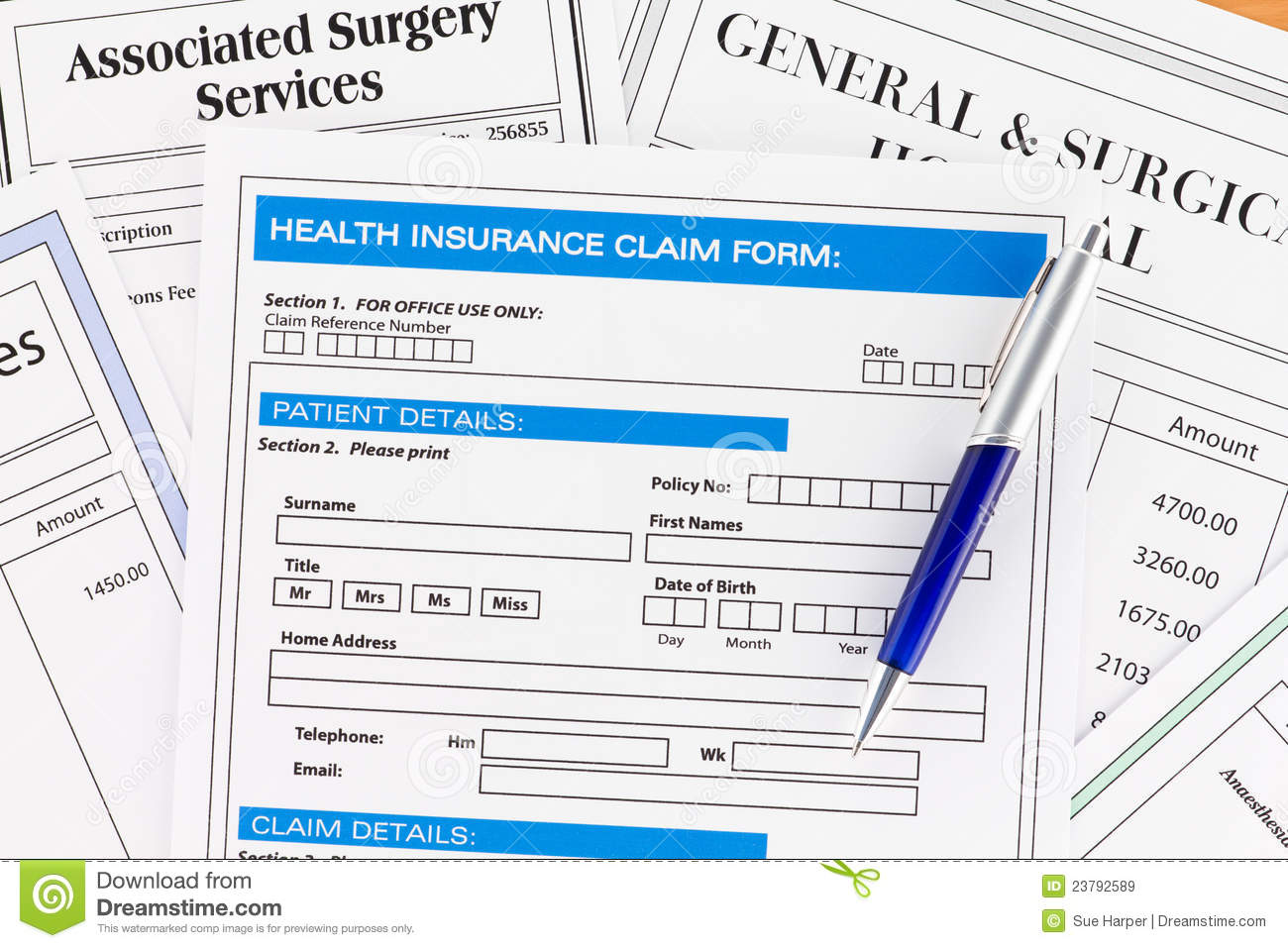 Health Insurance Claim Form With Invoices Royalty Free Stock ...