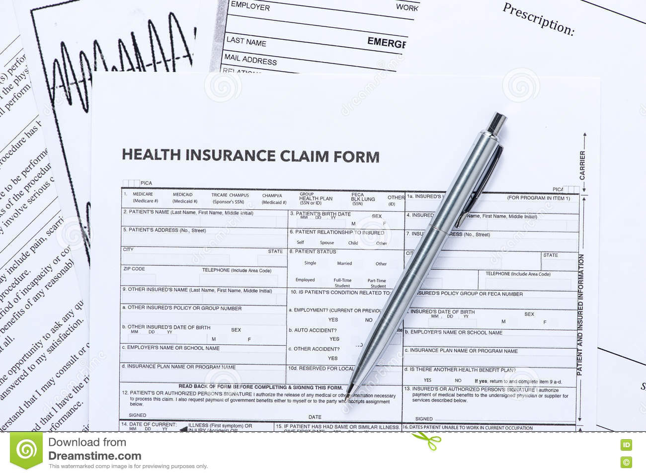 Health Insurance Claim Form with Silver Pen