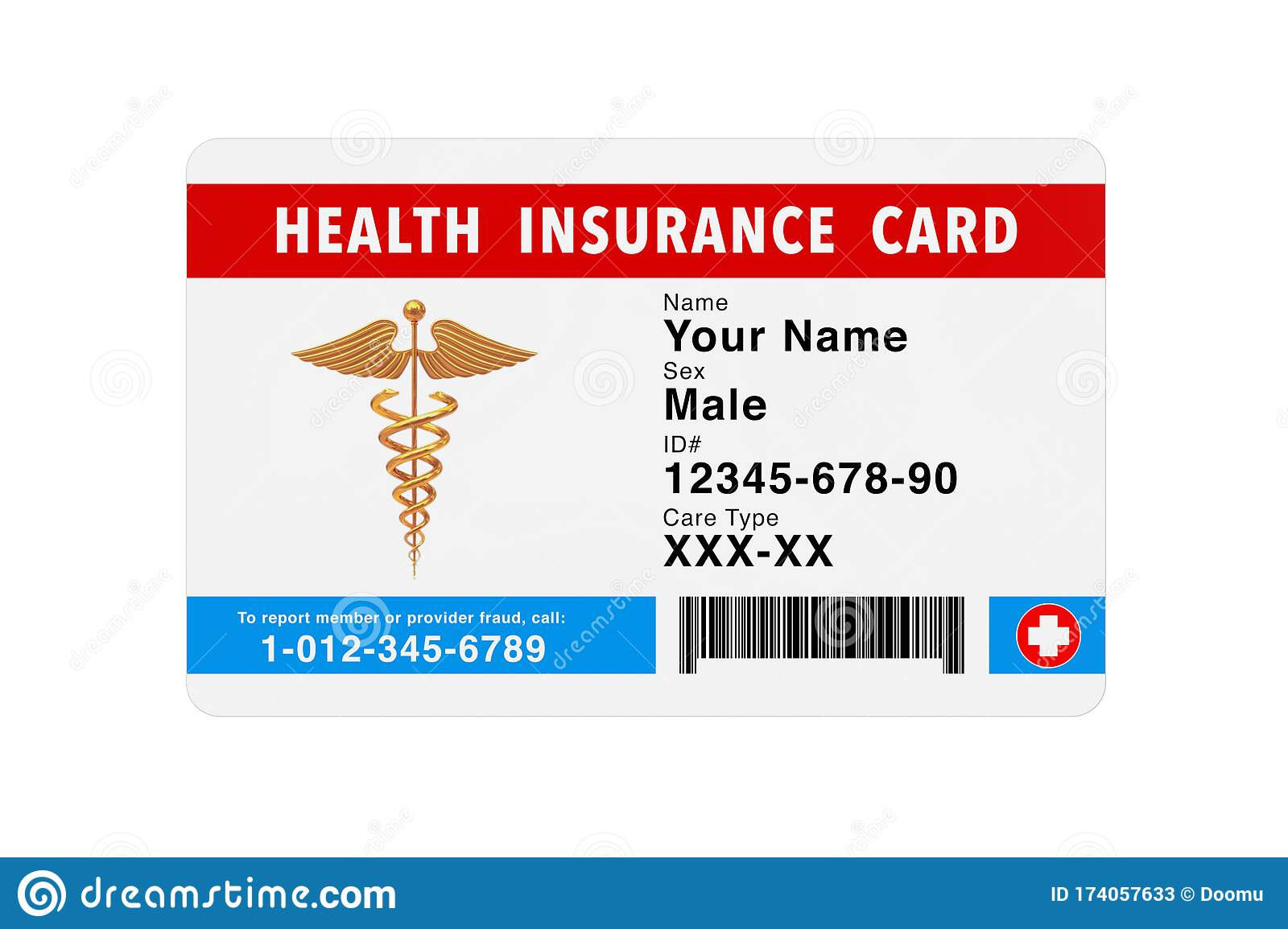 Health Insurance Medical Card Concept. 3d Rendering Stock ...