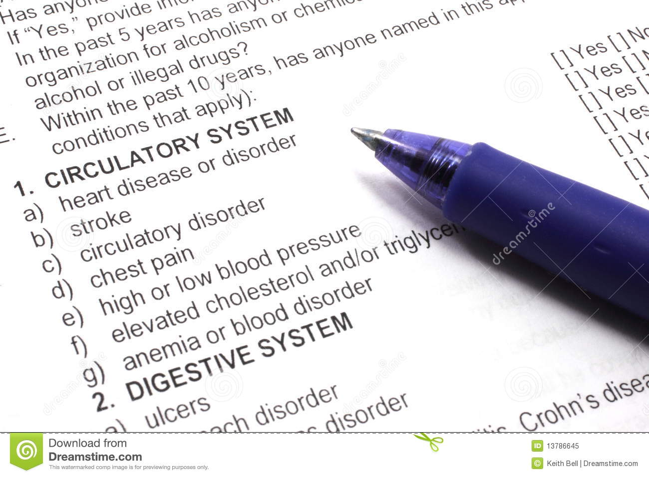 Health insurance medical questions on an application with a pen