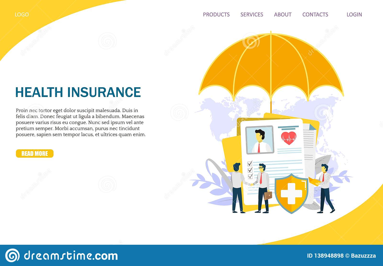 Health Insurance Vector Website Landing Page Design Template Stock