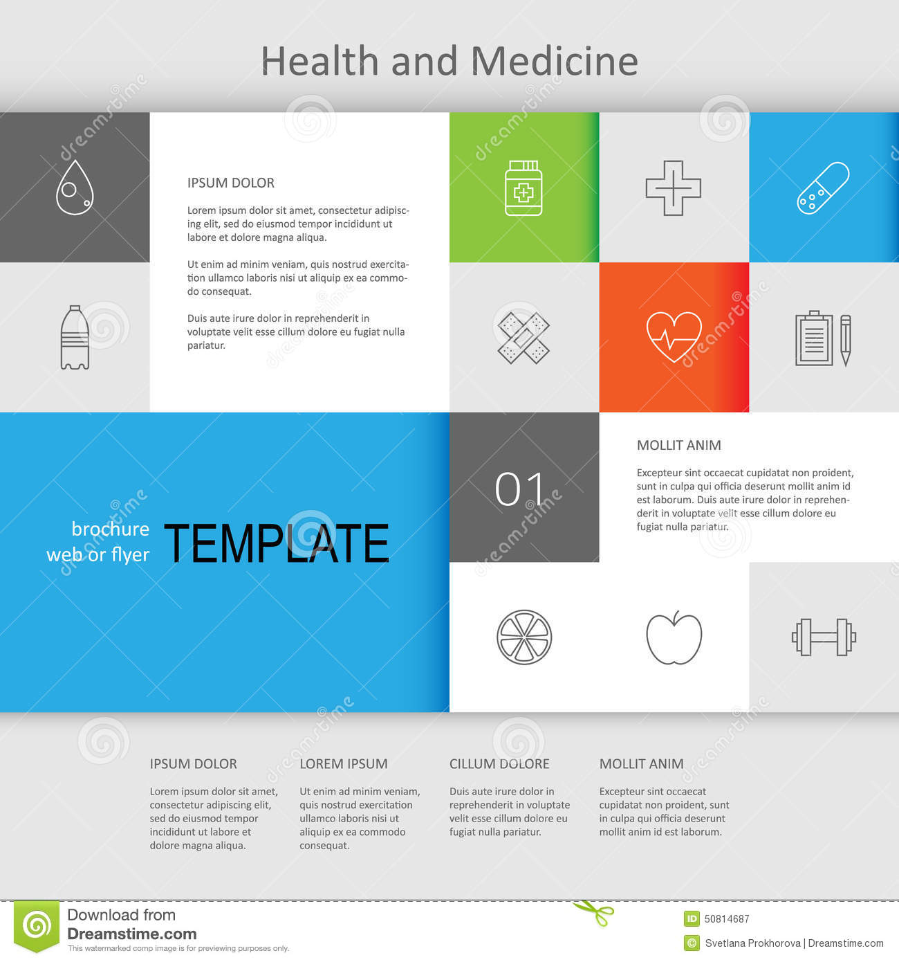 Health and medicine web page design stock vector image for Web page architecture