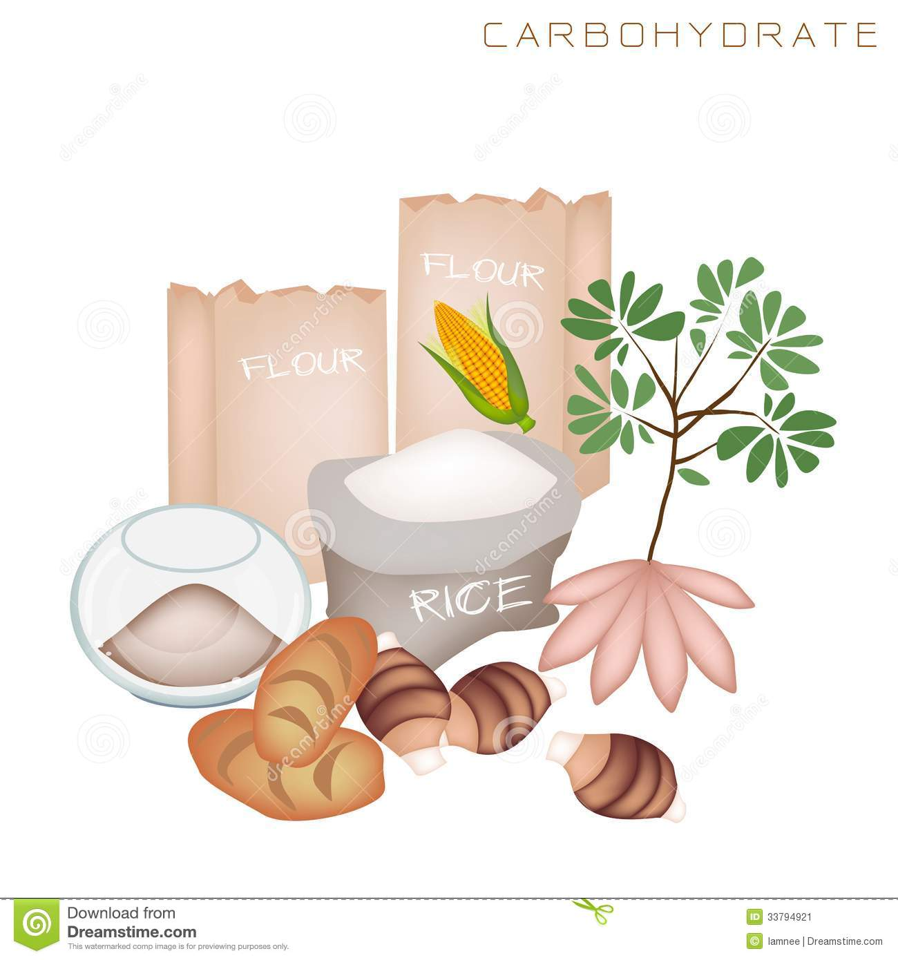 Health And Nutrition Benefits Of Carbohydrate Food Stock