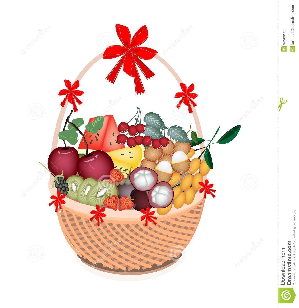 Health and nutrition fruit in gift basket stock vector for How to make christmas food baskets