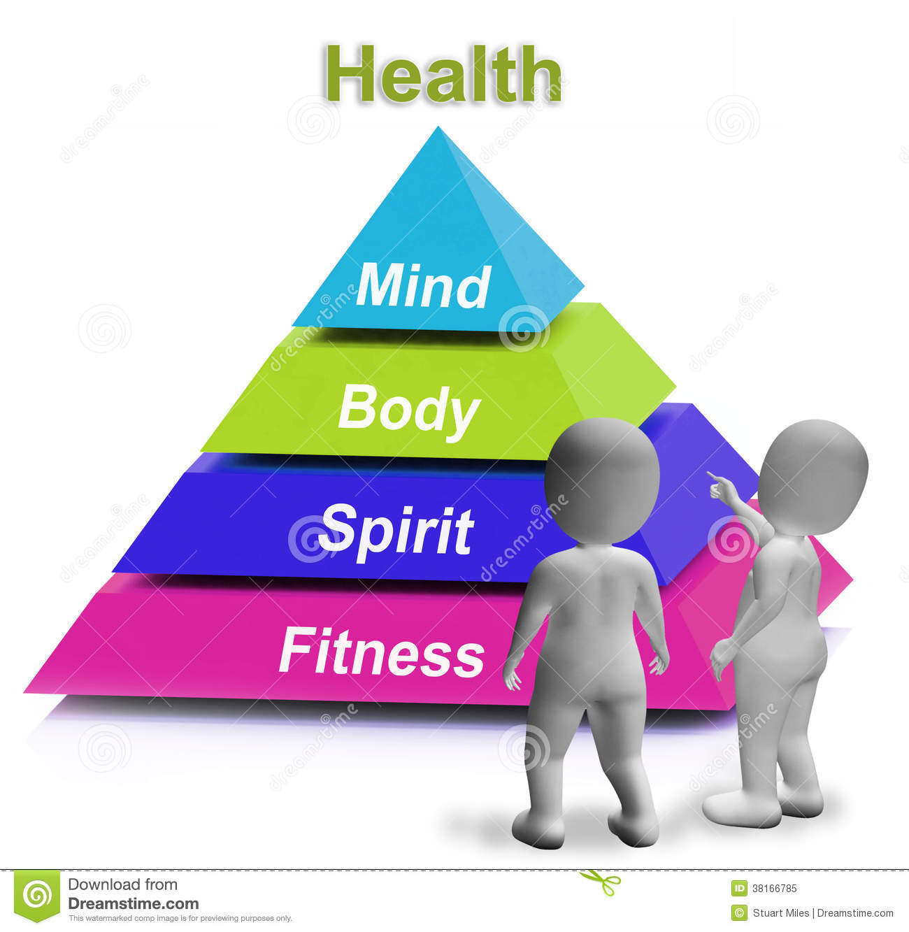 Health And Fitness: Health Pyramid Shows Fitness Strength And Wellbeing Stock