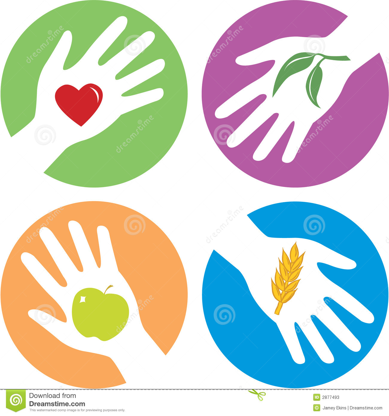 Health related hands with - heart, leaf, apple and wheat grain ...