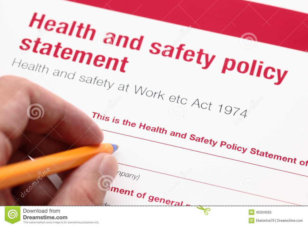 health and safety policy statement royalty free stock photo