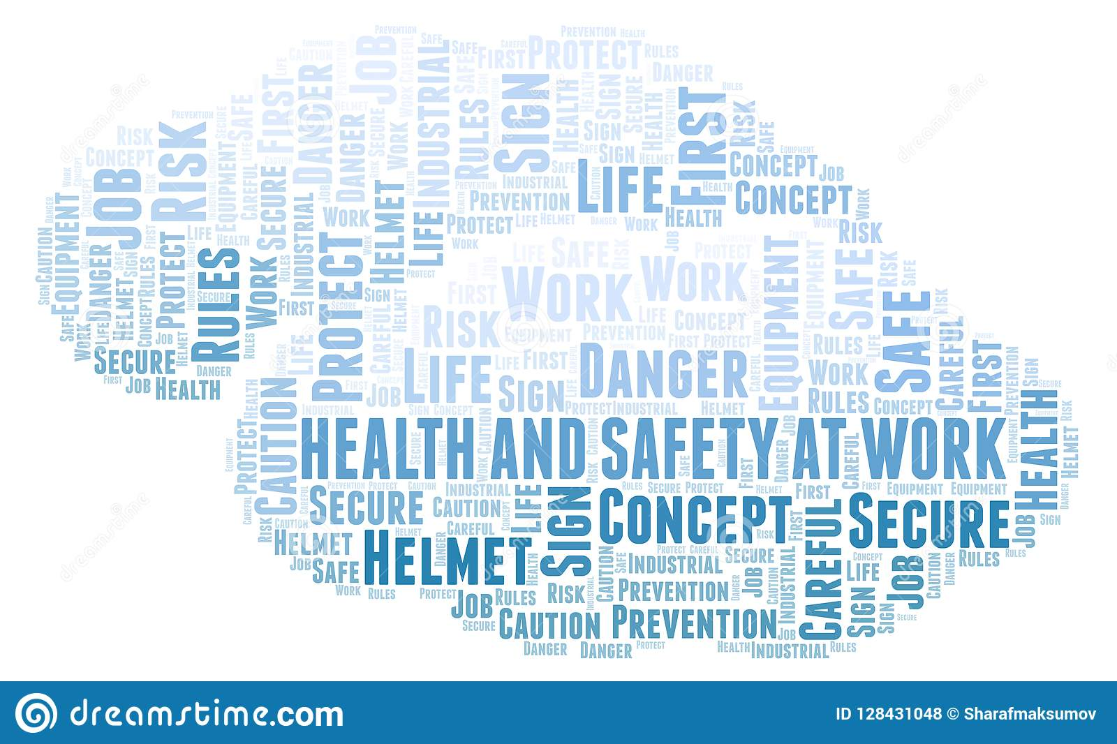 health and safety at work word cloud stock illustration