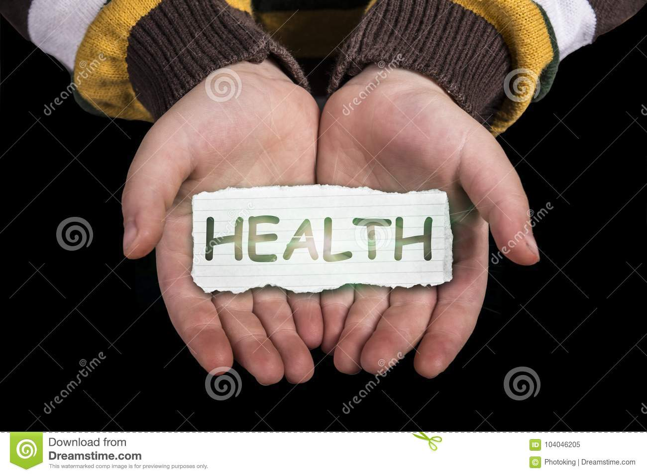 Health text on hand