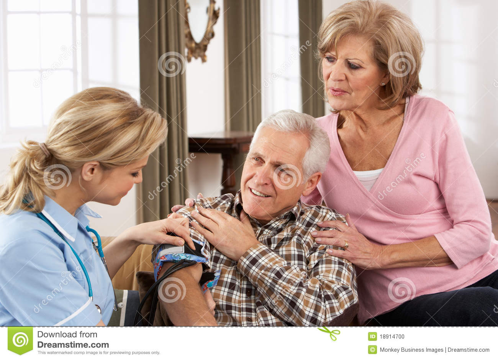 Health Visitor Taking Senior Man s Blood Pressure