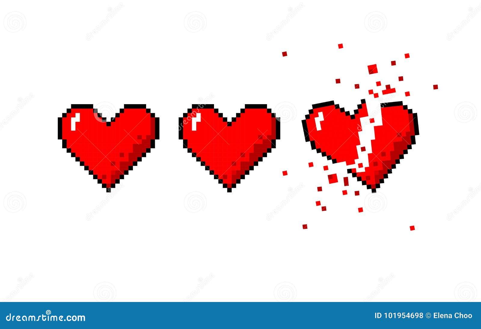 Healthbar Of Hearts And One Broken Heart Stock Vector