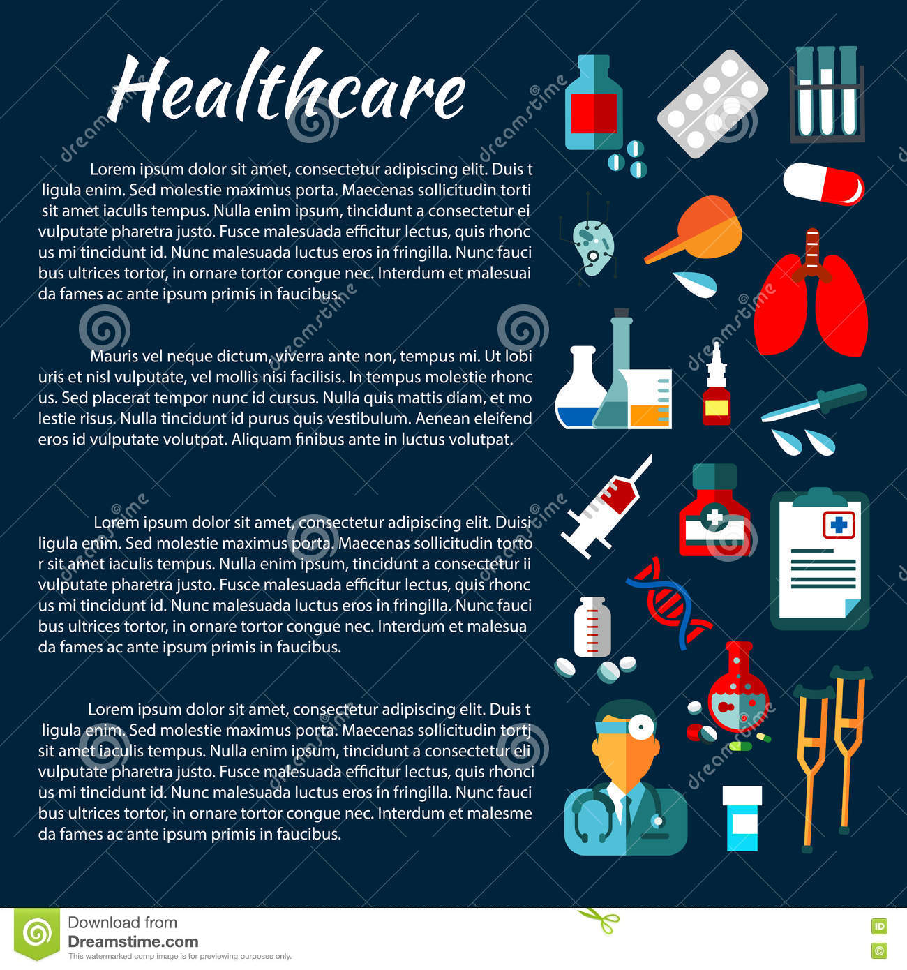 Health Care Poster With Medical Icons Stock Vector - Image: 75992725
