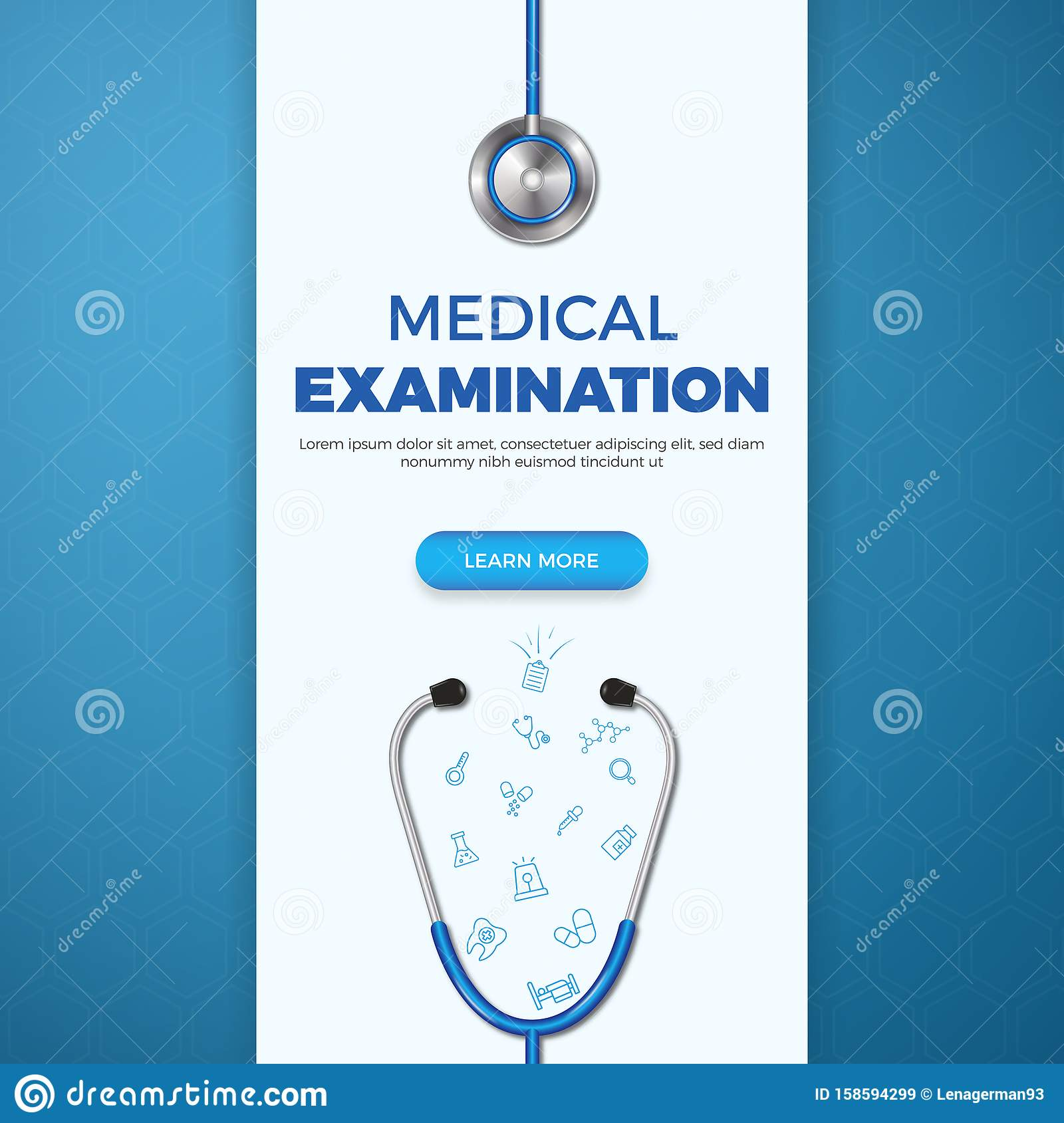 Healthcare Banner Template With Flat Icons In Medicine On Blue Background Stock Illustration Illustration Of Concept Exam 158594299