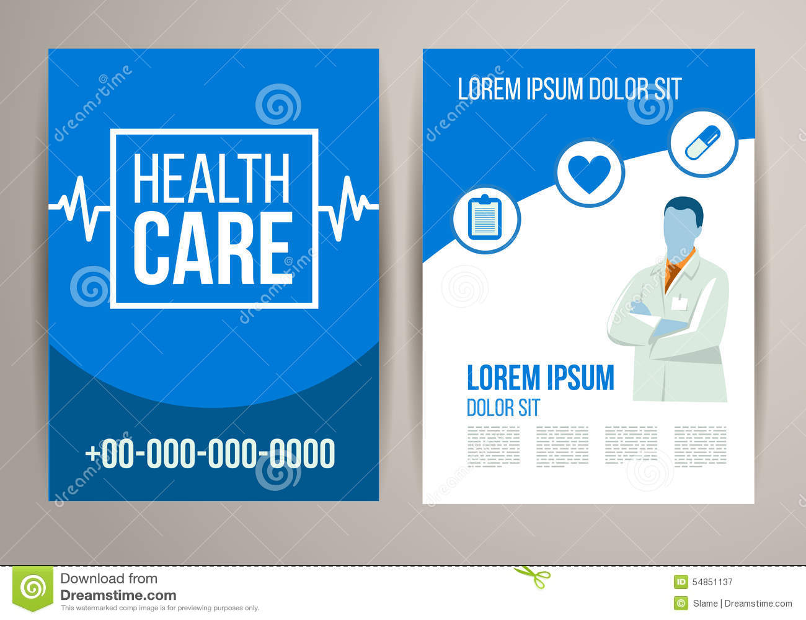 Healthcare Brochure. Cover, Icon.