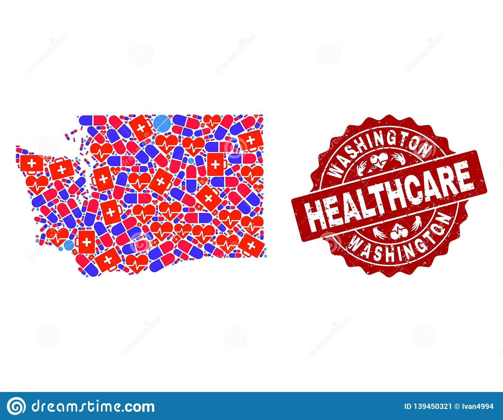 Healthcare Collage of Mosaic Map of Washington State and Grunge Seal Stamp