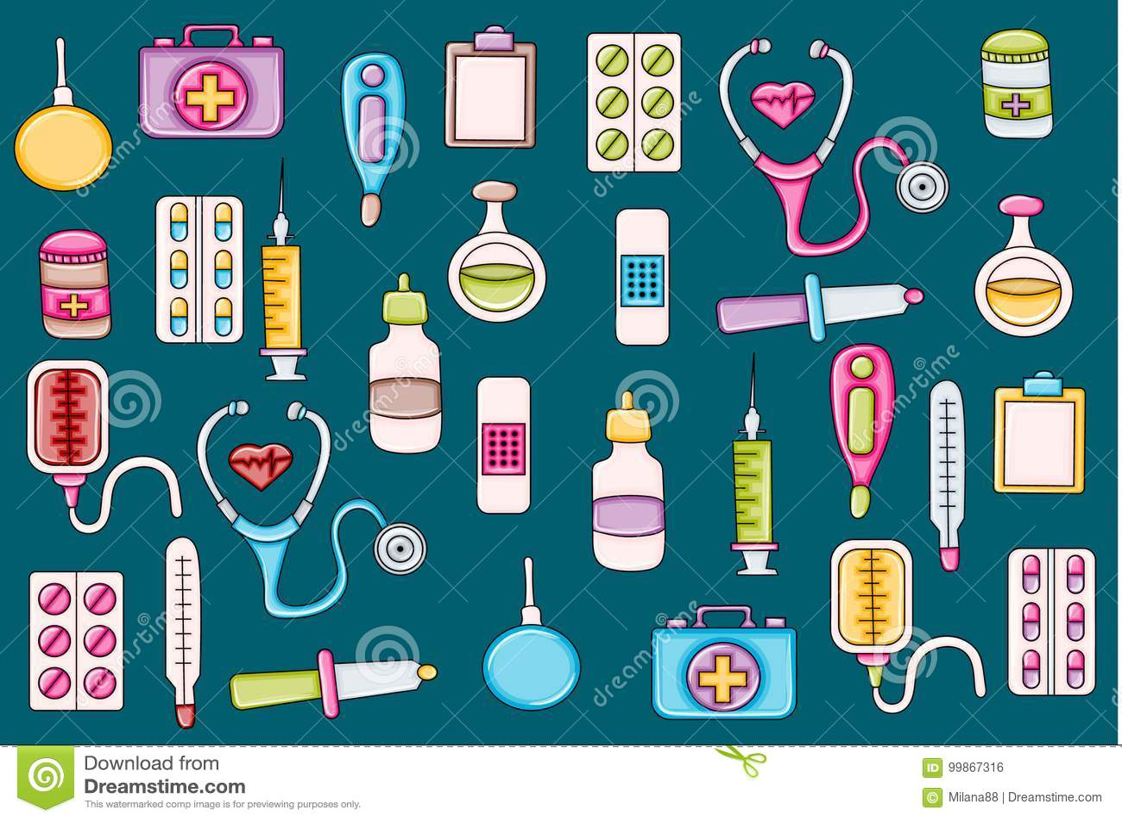 Healthcare icons concept cartoon doodle sticker design