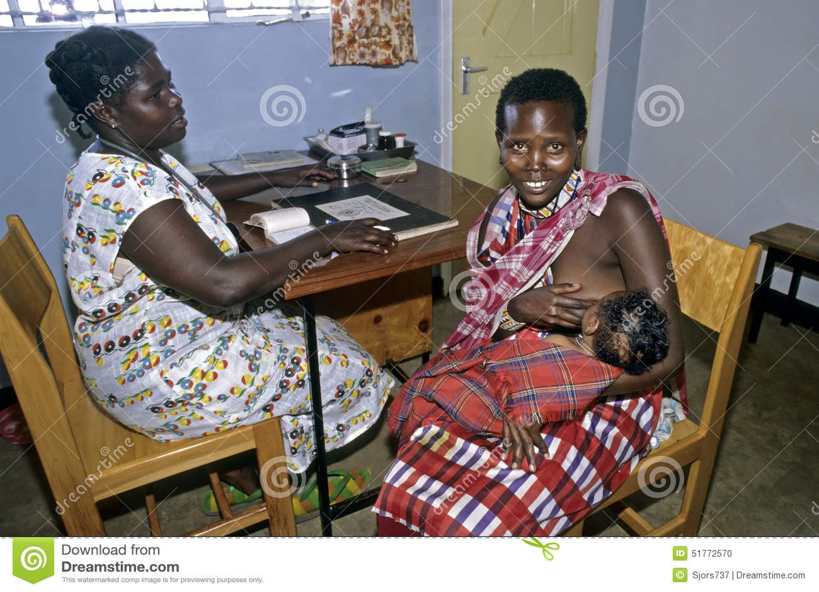 Healthcare, Maasai Mother Breastfeeding In Clinic ...