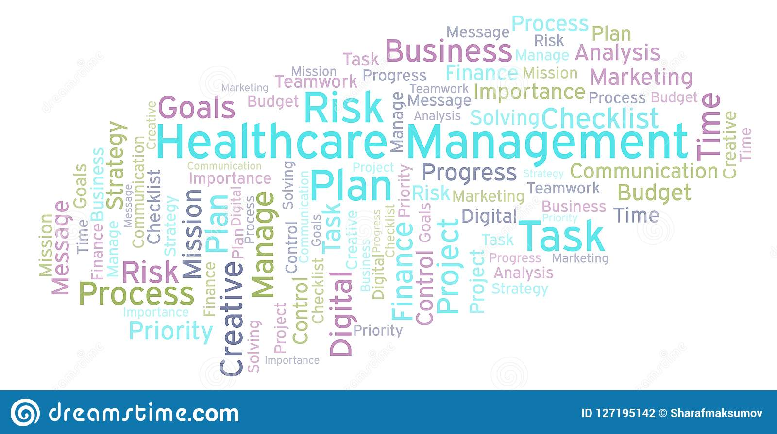 Healthcare Management Word Cloud, Made With Text Only  Stock