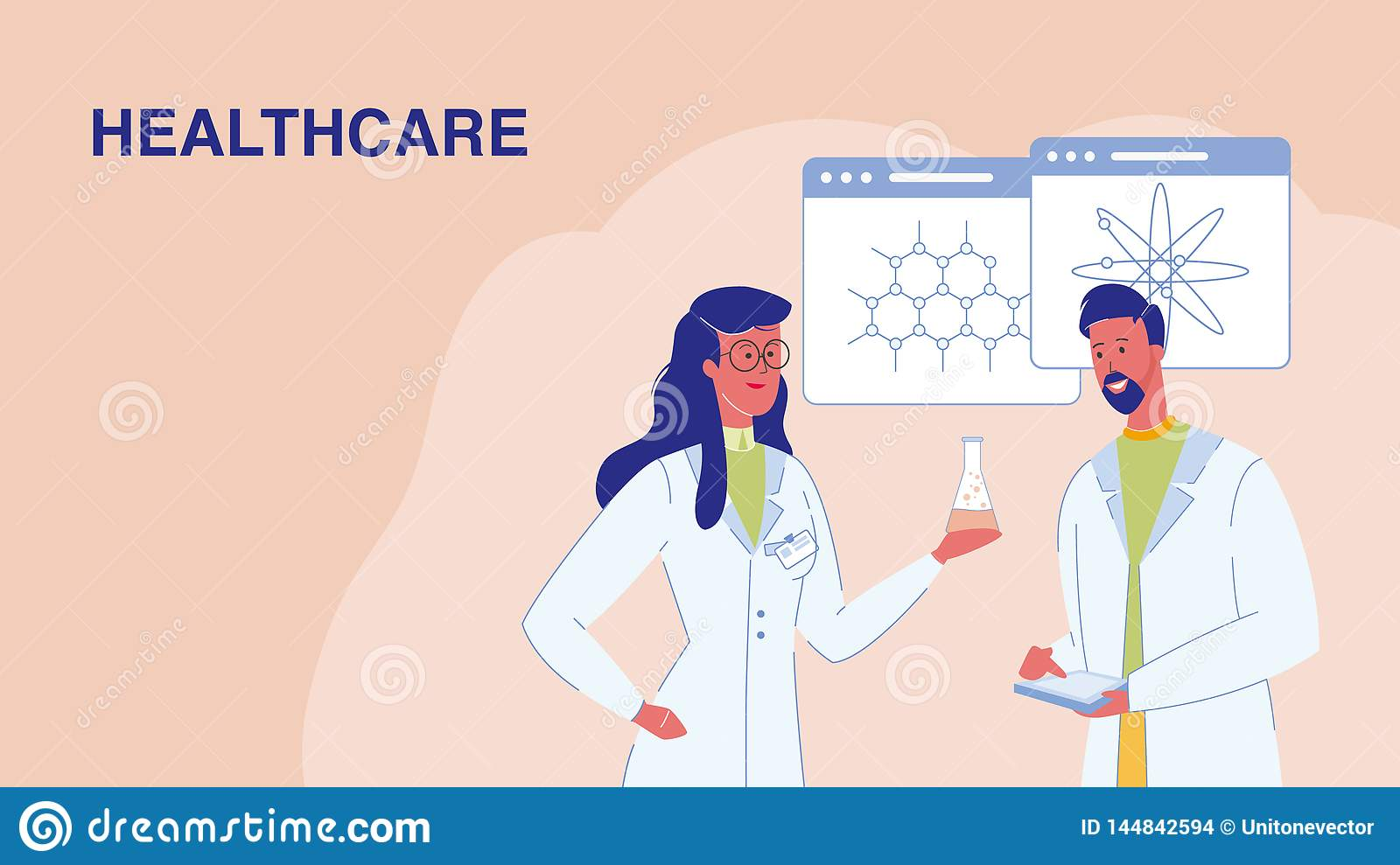 Healthcare, Medical Research Vector Web Banner