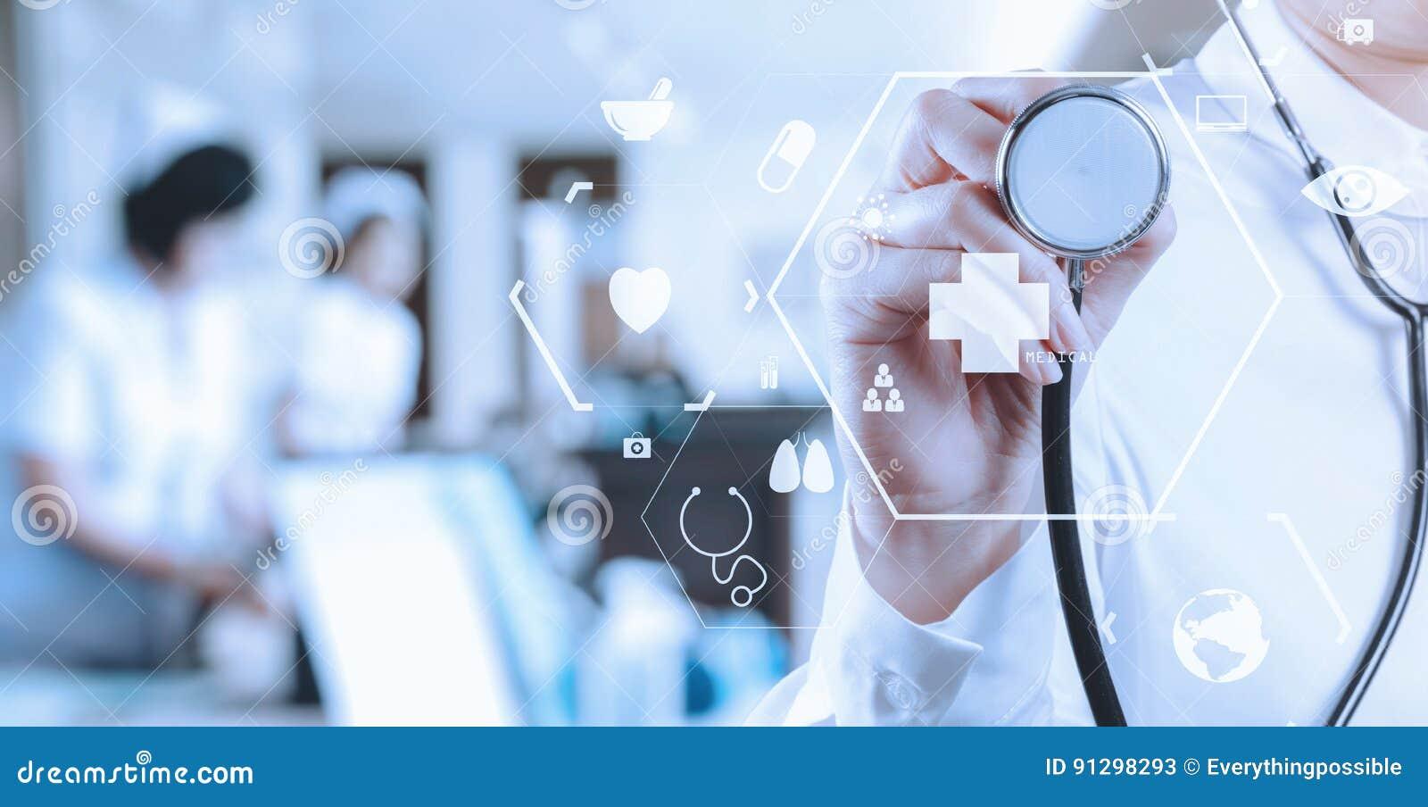healthcare and medicine concept smart medical doctor working wit