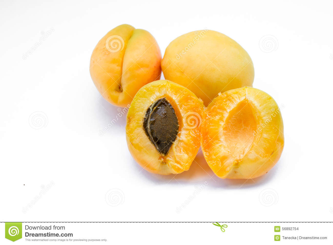 Healthy apricot with stone isolated