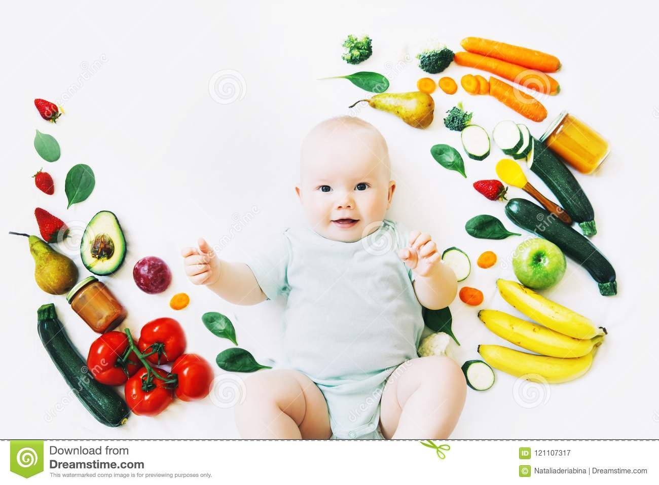 Best Baby Toys For 8 Months Old : Healthy baby child nutrition food background top view. stock image