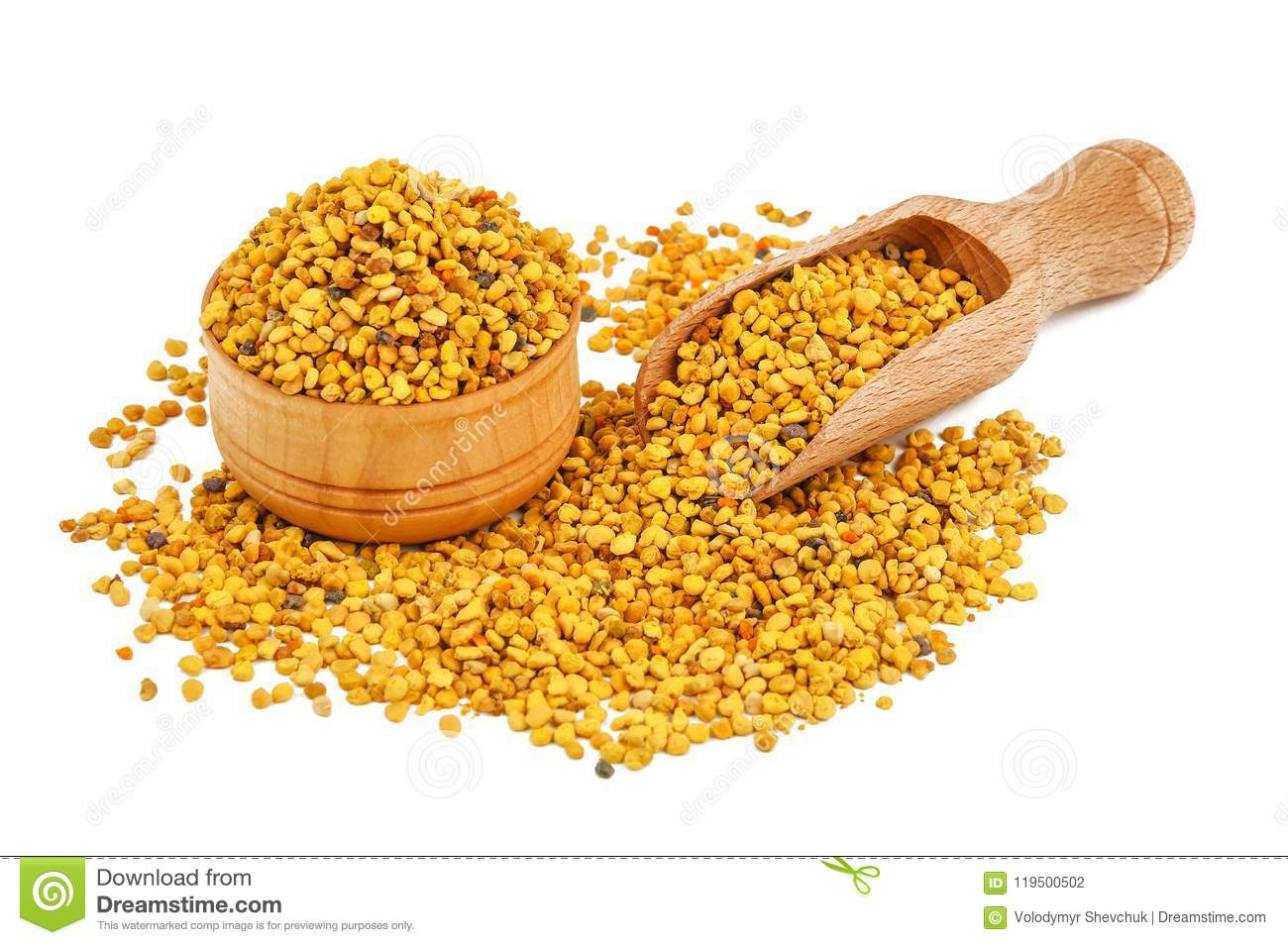 Healthy bee pollen on white