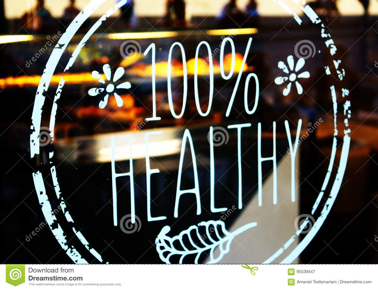 100  healthy bistrot glass decal