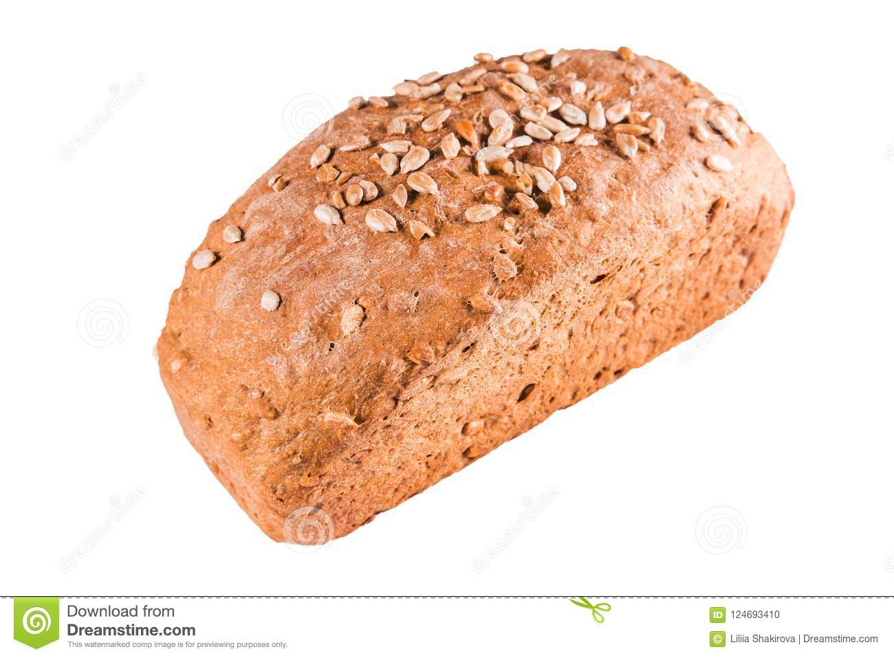 Healthy bread with seeds on a white isolated background. Healthy food,