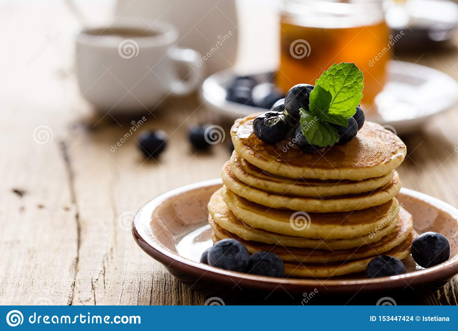 Morning meal, homemade pancakes, fresh summer berries