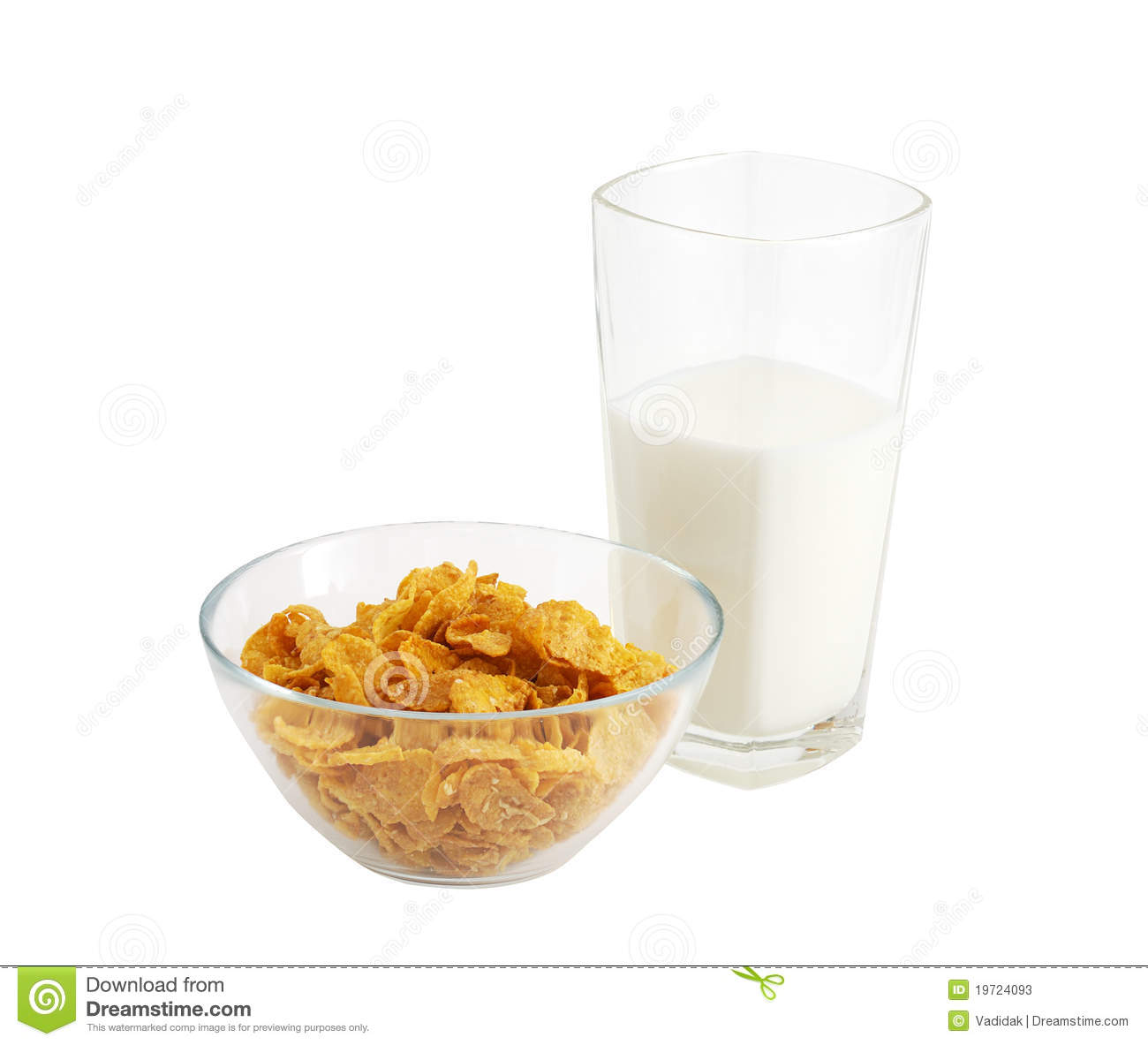 Healthy Breakfast With Cereal And Glass Of Milk Stock