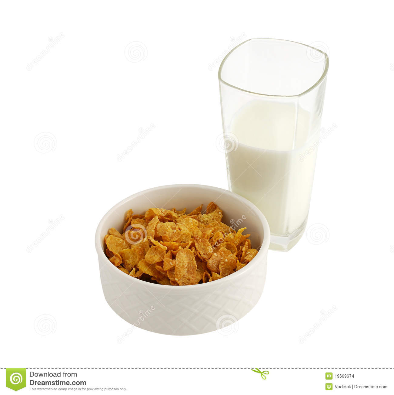 Healthy Breakfast With Cereal And Milk Stock Photo