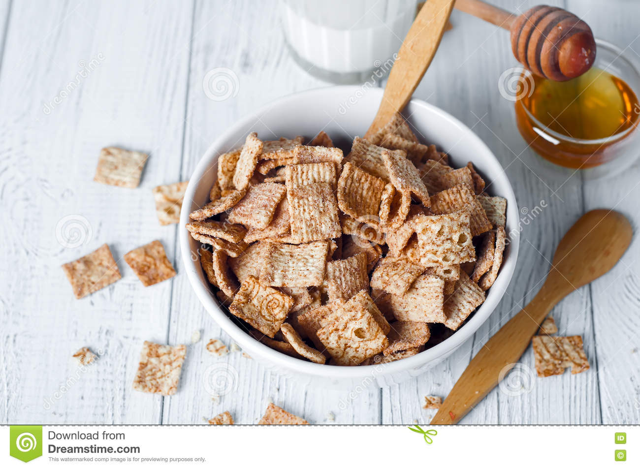 Healthy Breakfast - Cereal Rings In A Bowl With Milk Stock Image