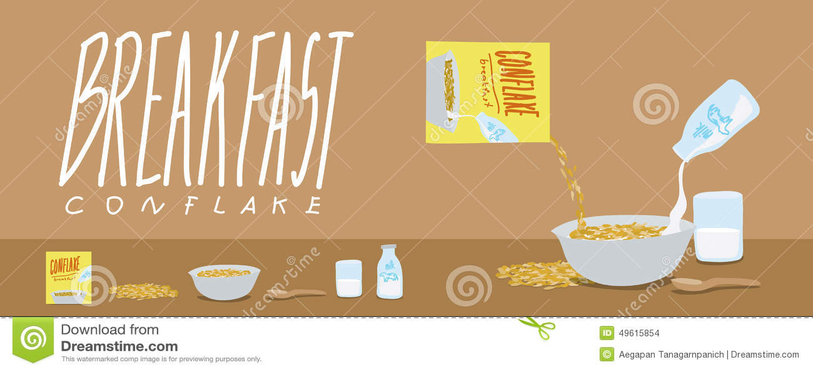 Healthy Breakfast-Cornflakes and Milk Splash Vector