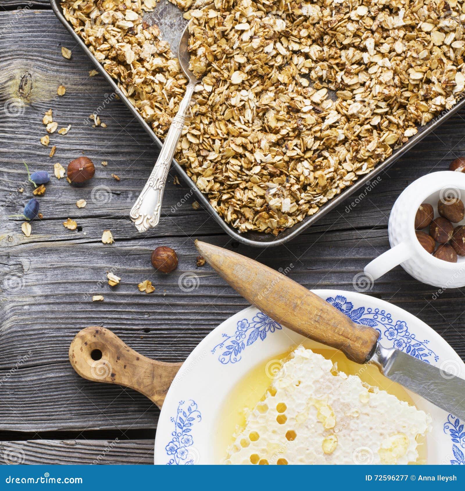 Healthy Breakfast. Honey Crisp Flavorful Granola With Nuts
