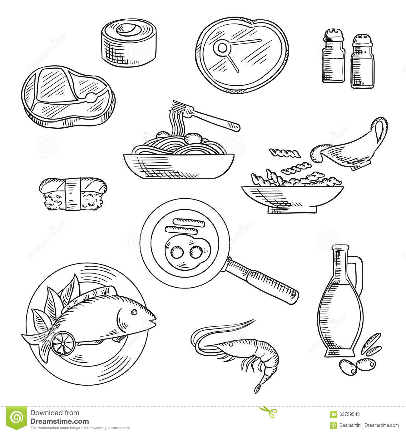 Healthy Breakfast And Lunch Sketched Icons Stock Vector - Image 63759543