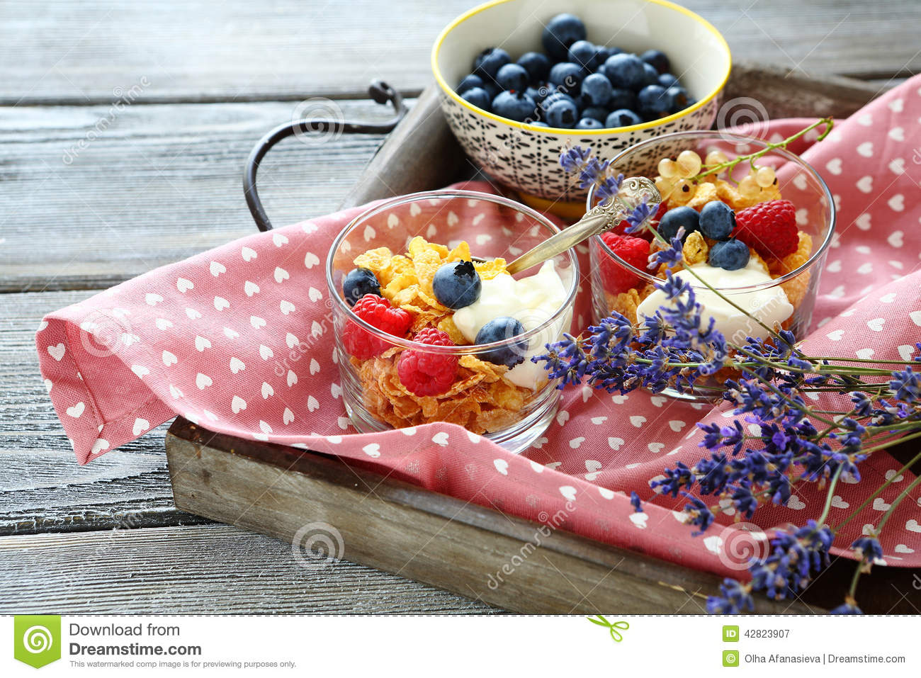 Download Healthy Breakfast For Two.Oat Flake, Berries And Flowers Stock Image - Image of muesli, healthy: 42823907