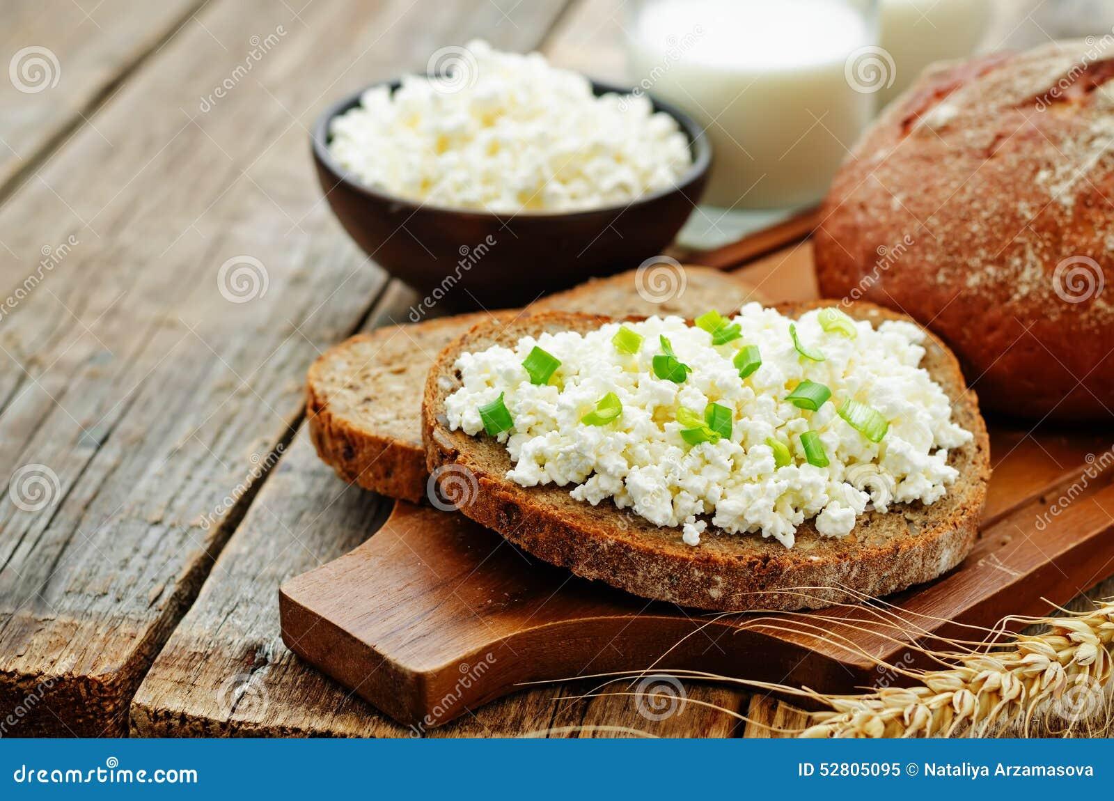 Healthy Breakfast With Whole Grain Rye Bread, Cottage ...