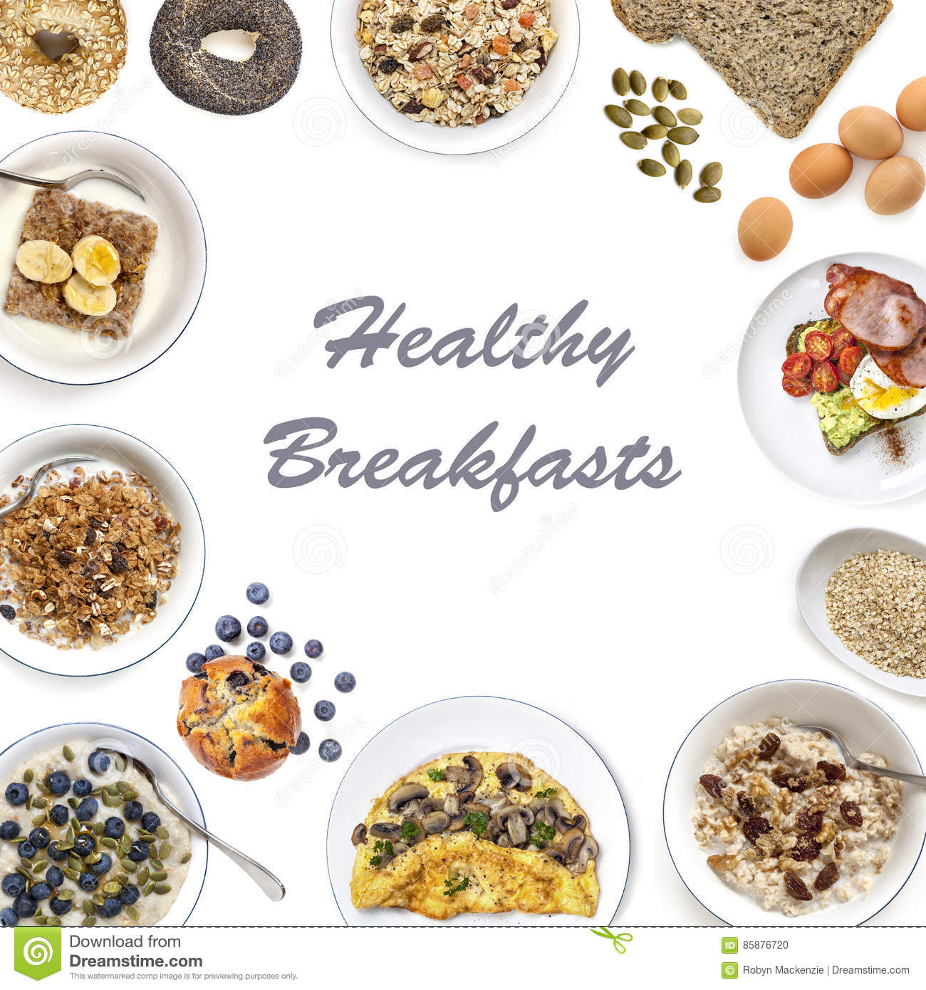 Healthy breakfast food top view isolated on white with copy space