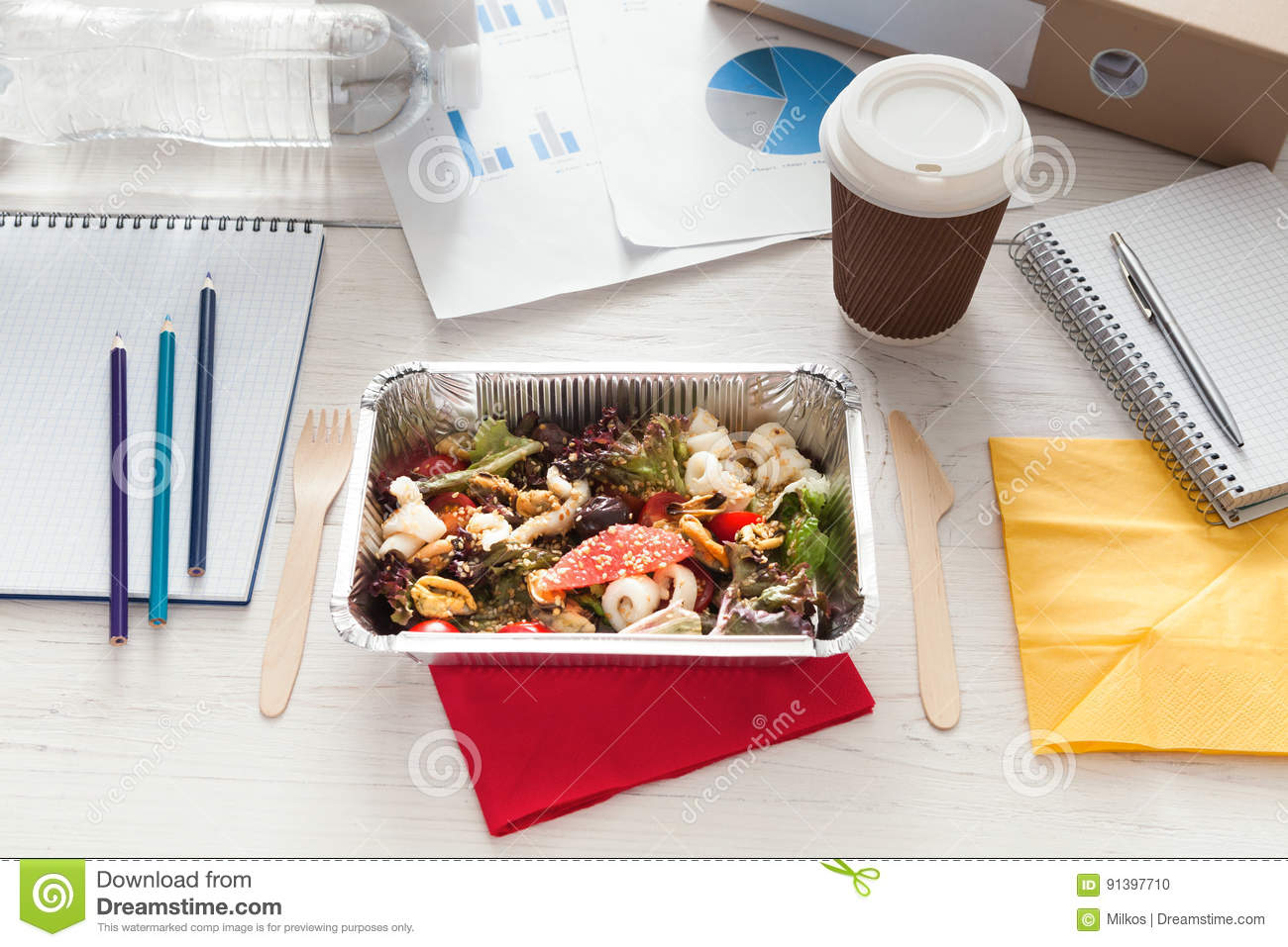 Healthy Business Lunch Snack In Office Vegetable Salad Stock Photo