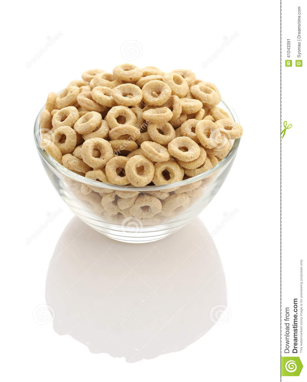 Healthy Cereal Rings In A Glass Bowl On A White Background