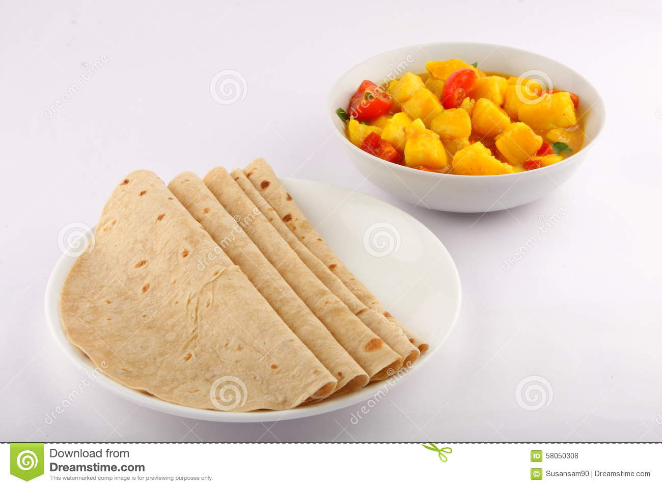 Healthy Chapati With Potato Curry. Stock Photo - Image ...