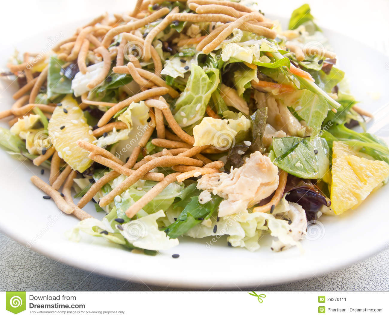 Delicious plate of Asian style healthy chicken salad.