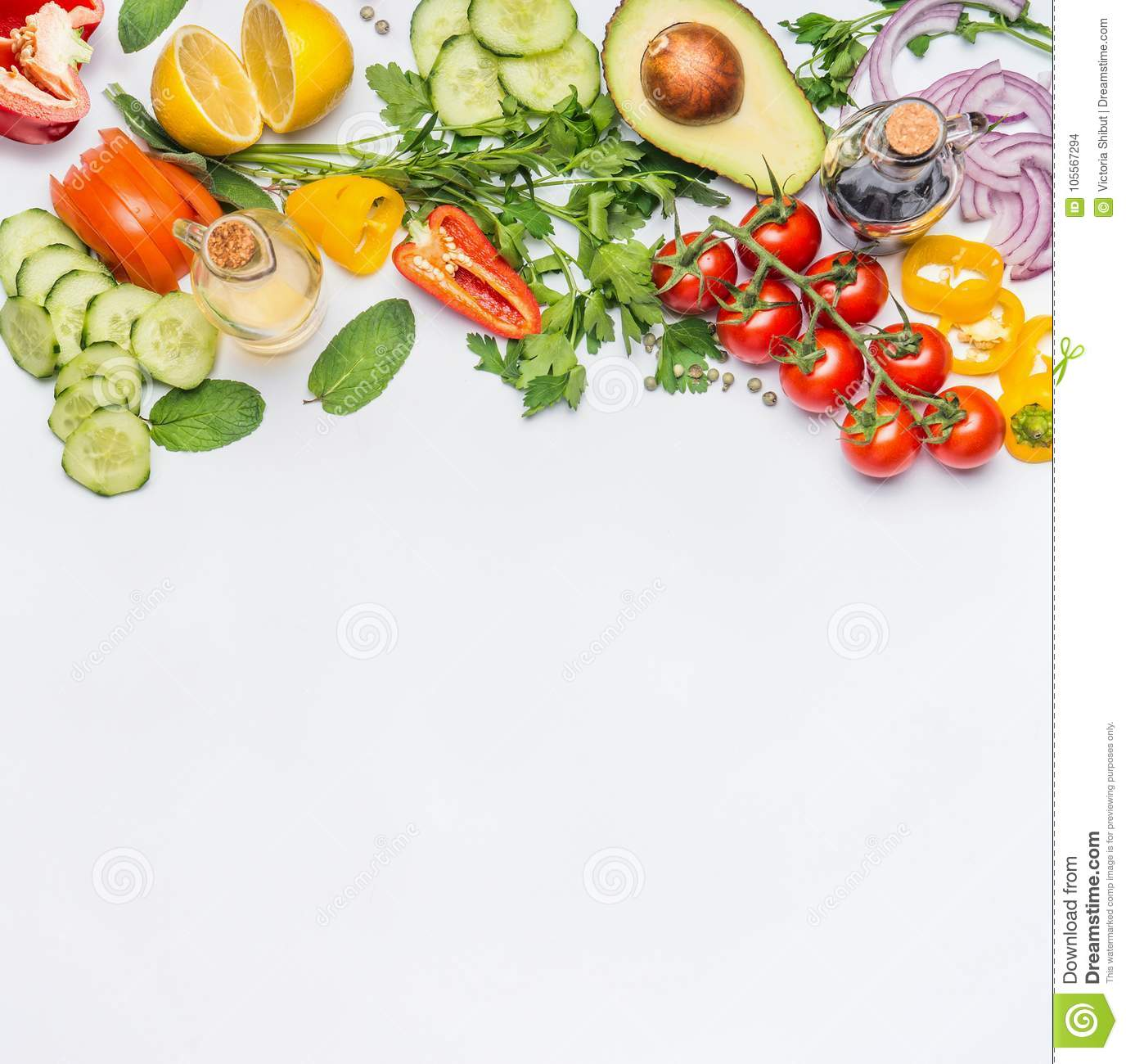 Healthy clean eating layout, vegetarian food and diet nutrition concept. Various fresh vegetables ingredients for salad