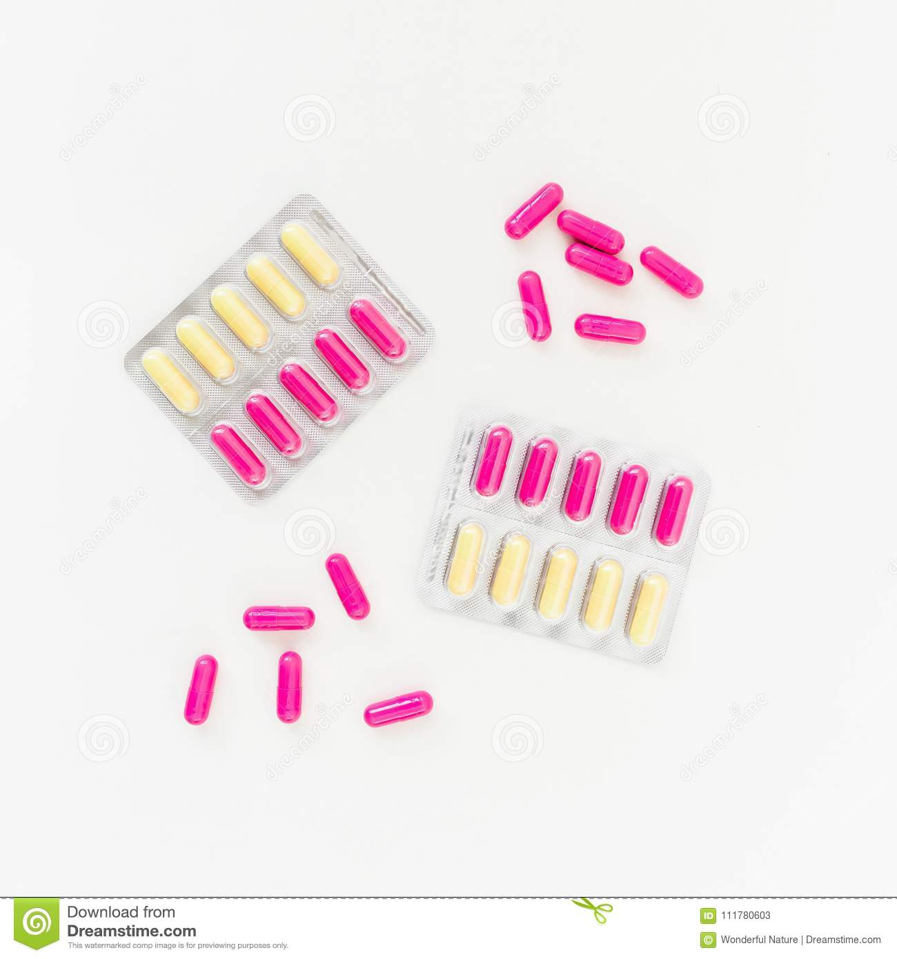 Healthy concept with vitamins on white background. Flat lay, top view. Medical concept